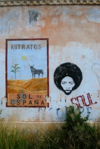 Graffiti & old poster at Rodalquilar